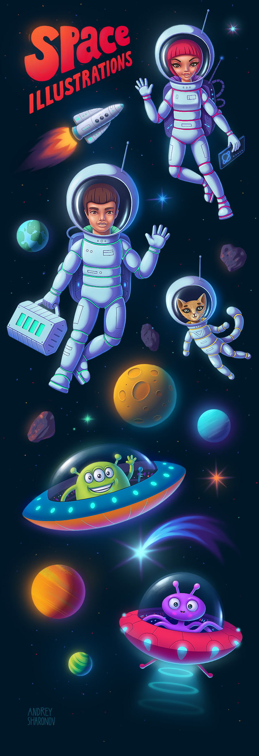 Illustration of astronauts and aliens in cartoon style (Character design)