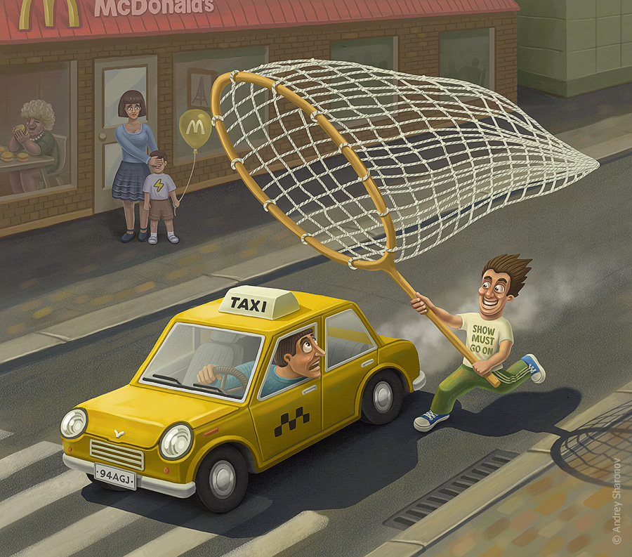 illustration Catch the taxi
